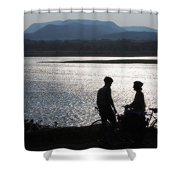 Biking Gaspe Shower Curtain