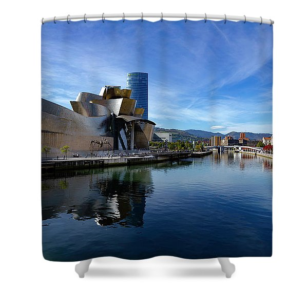 Bilbao In Autumn With Blue Skies Next To The River Nervion Shower Curtain