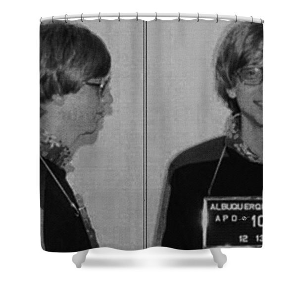 Bill Gates Mug Shot Horizontal Black And White Shower Curtain