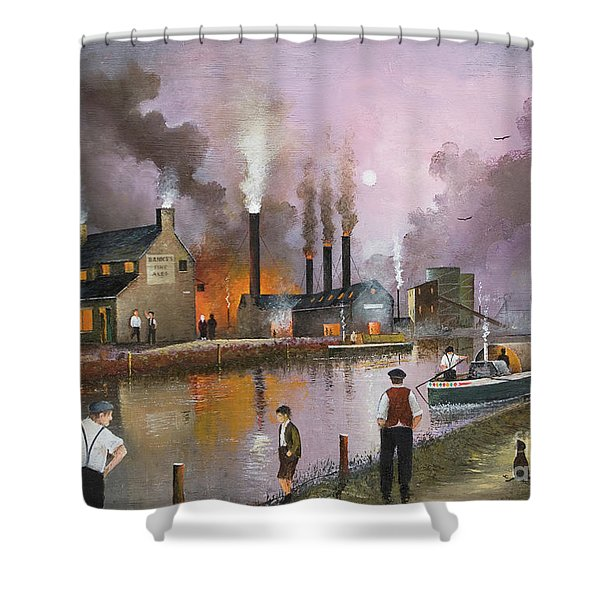 Shower Curtain featuring the painting Bilston Steelworks by Ken Wood