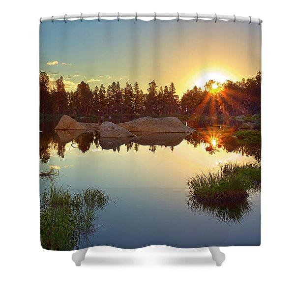 Binary Sunrise Shower Curtain