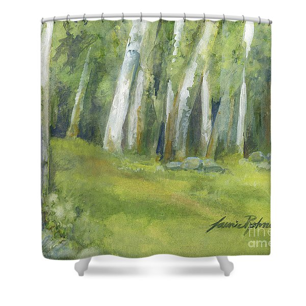 Birch Trees And Spring Field Shower Curtain