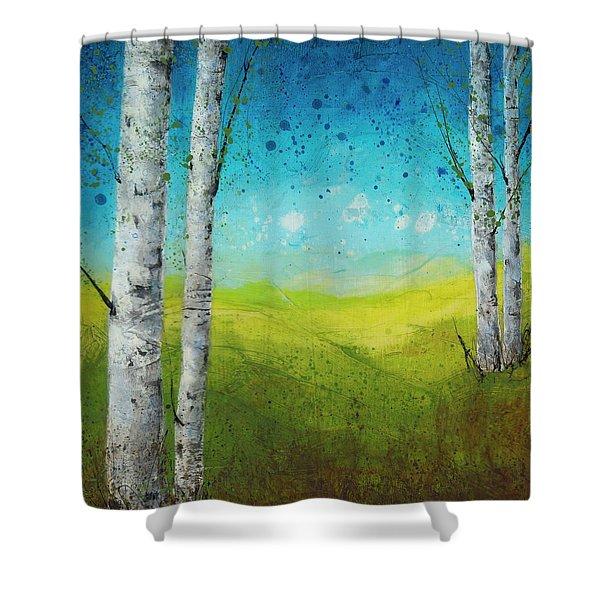 Birches In Green Shower Curtain
