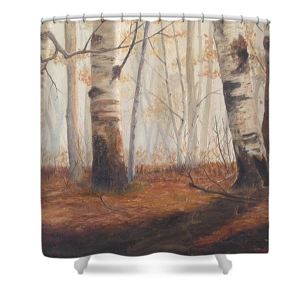 Shower Curtain featuring the painting Birches by Jan Byington