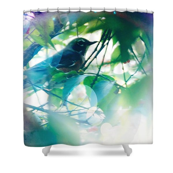 Bird And Blue Shower Curtain