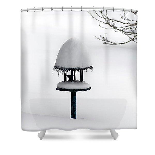 Bird Feeder In Snow Shower Curtain