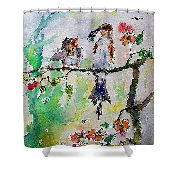 Bird Feeding Baby Watercolor Shower Curtain