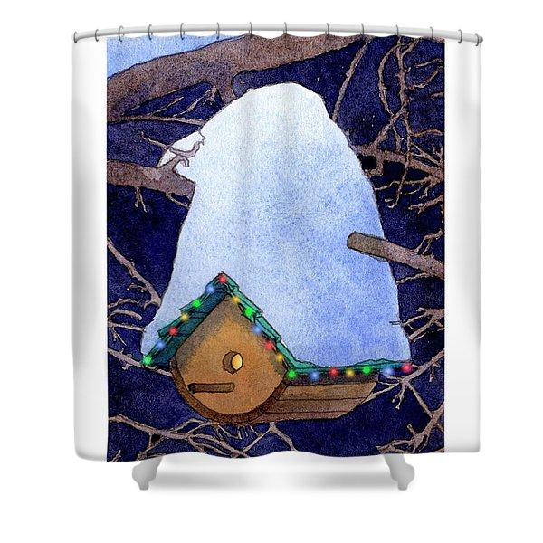 Bird House Christmas Shower Curtain