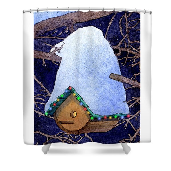 Bird House Christmas Shower Curtain