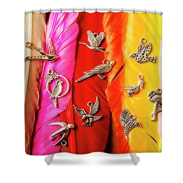 Bird Icons And Rainbow Feathers Shower Curtain