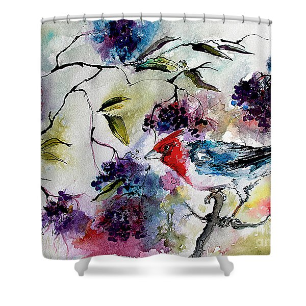 Bird In Elderberry Bush Watercolor Shower Curtain