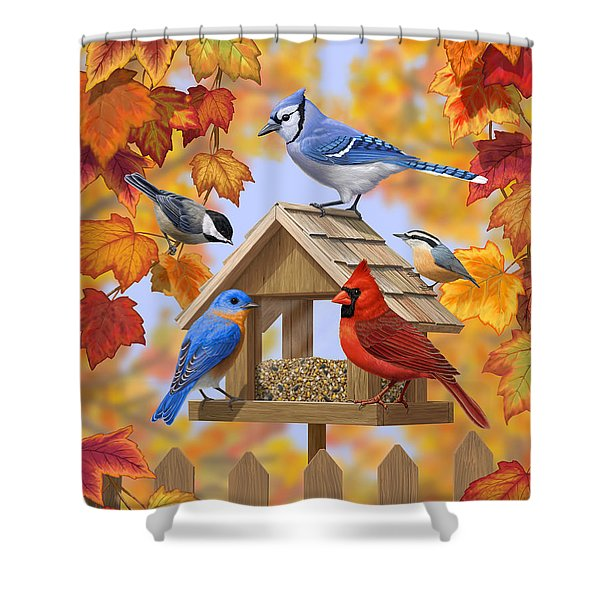 Bird Painting - Autumn Aquaintances Shower Curtain