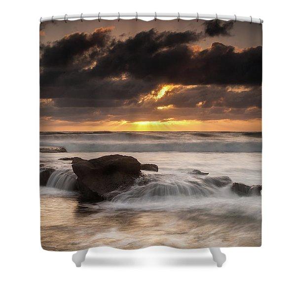 Bird Rock Clearing Storm Shower Curtain