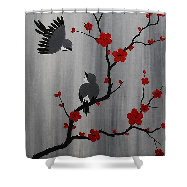 Birds And Blooms In Red Shower Curtain