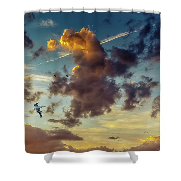 Birds In Flight At Sunset Shower Curtain