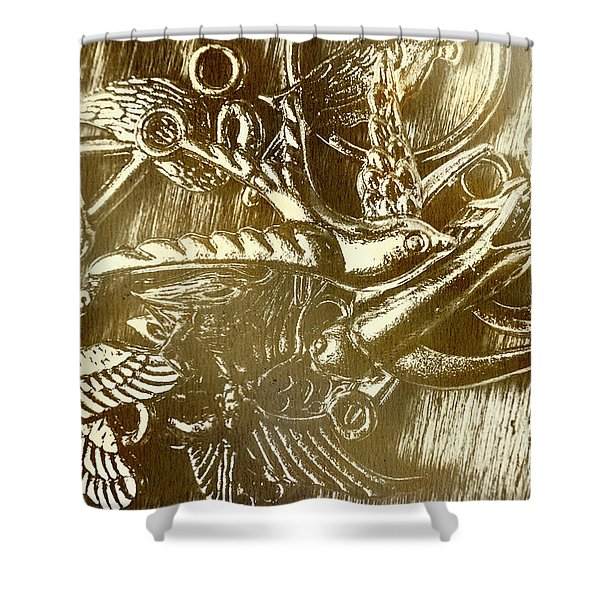 Birds Of Metal Shower Curtain