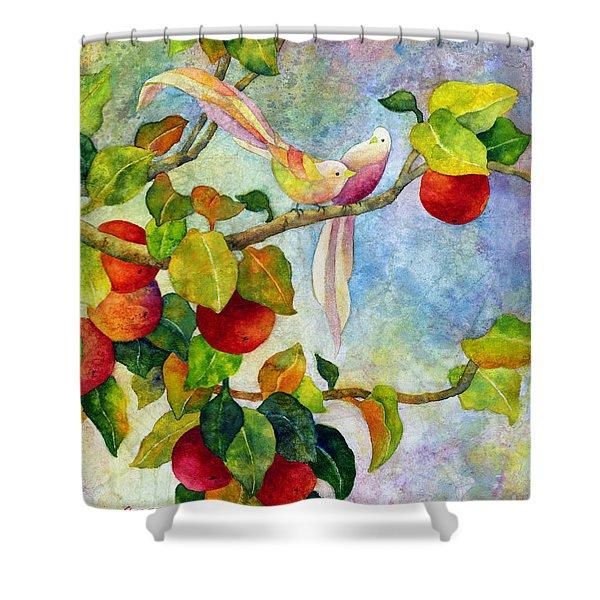 Birds On Apple Tree Shower Curtain