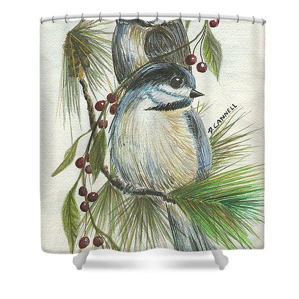 Birds Two And Fir Tree Shower Curtain