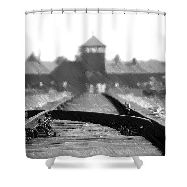 Birkenau / Auschwitz Railhead - Pol402324 Shower Curtain