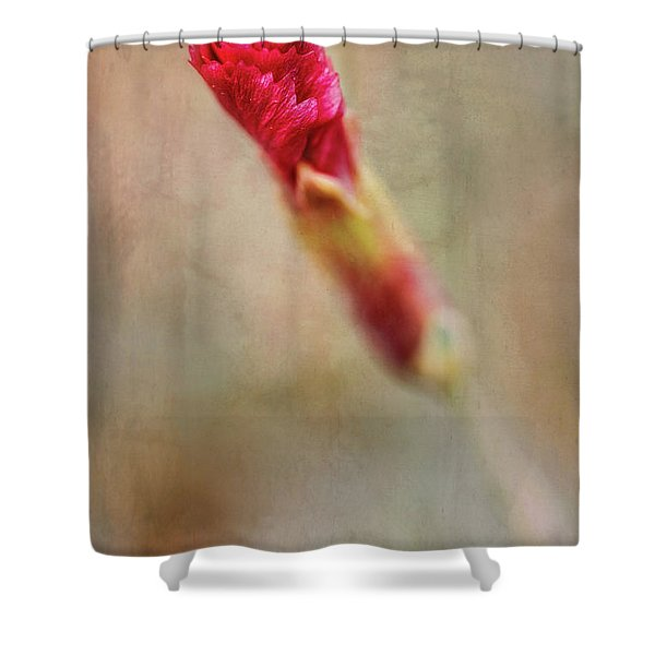 Birth Of A Red Bloom Shower Curtain