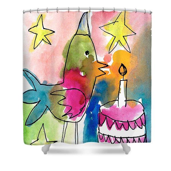 Birthday Bird Shower Curtain