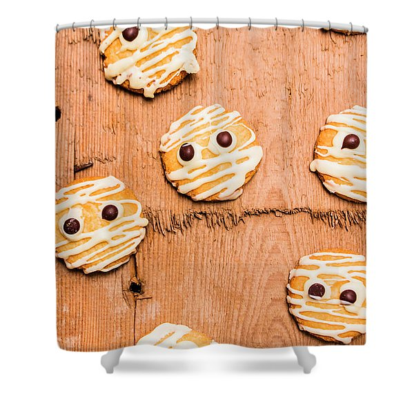 Biscuit Gathering Of Monster Mummies Shower Curtain