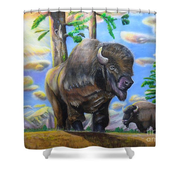 Bison Acrylic Painting Shower Curtain
