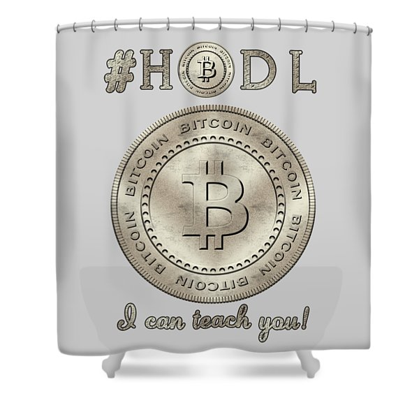 Bitcoin Symbol Hodl Quote Typography Shower Curtain