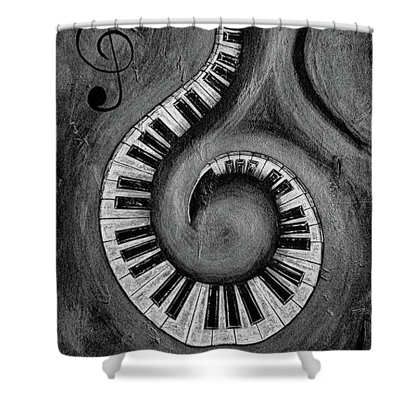 Black 3 - Swirling Piano Keys - Music In Motion  Shower Curtain