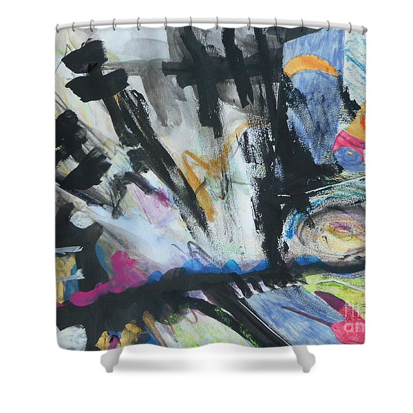 Black Abstract Shower Curtain