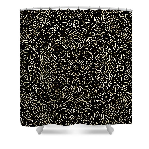 Black And Gold Filigree 002 Shower Curtain