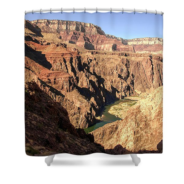 Black And Silver Bridges Spanning The Colorado River  Grand Canyon National Park Shower Curtain