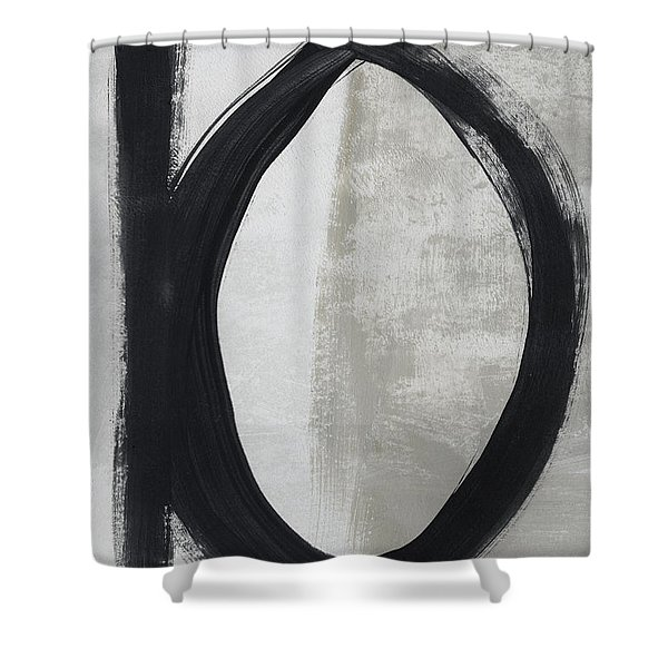 Black And White Abstract 1- Art By Linda Woods Shower Curtain