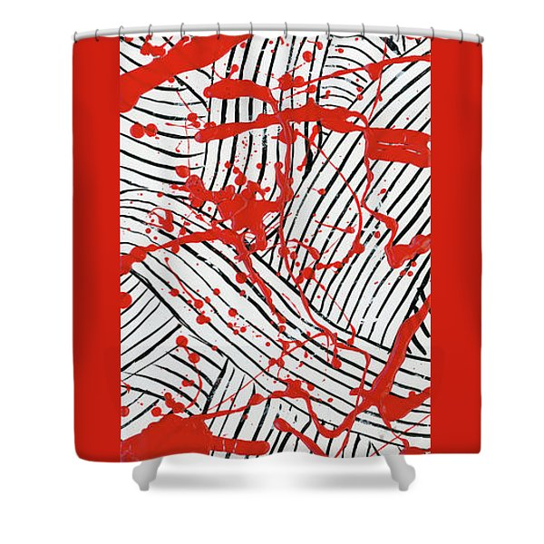 Black And White And Red All Over 1 Shower Curtain