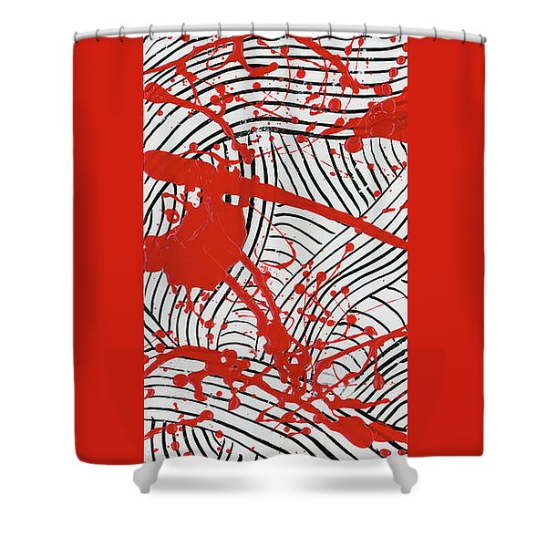 Black And White And Red All Over 2 Shower Curtain