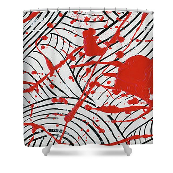 Black And White And Red All Over 3 Shower Curtain