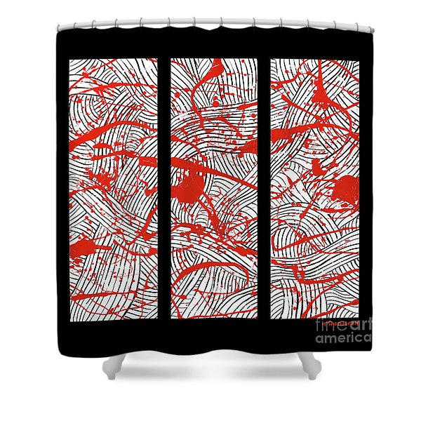 Black And White And Red All Over Shower Curtain