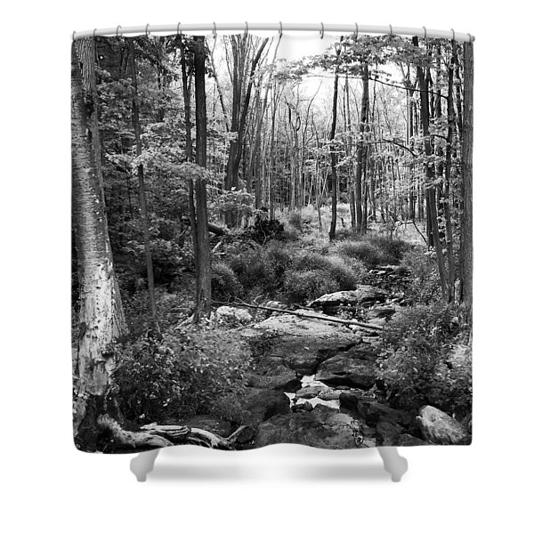 Black And White Babbling Brook Shower Curtain