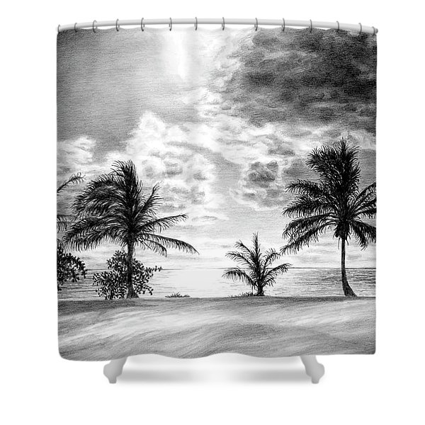 Black And White Caribbean Sunset Shower Curtain