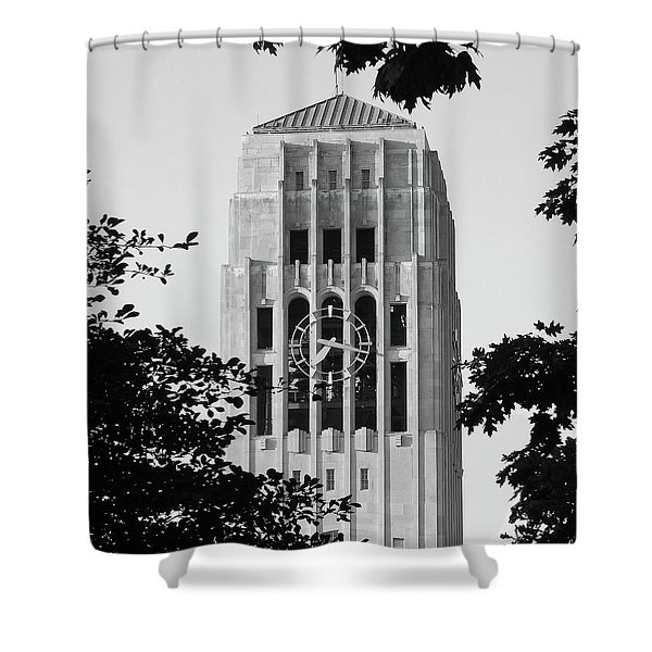 Black And White Clock Tower Shower Curtain