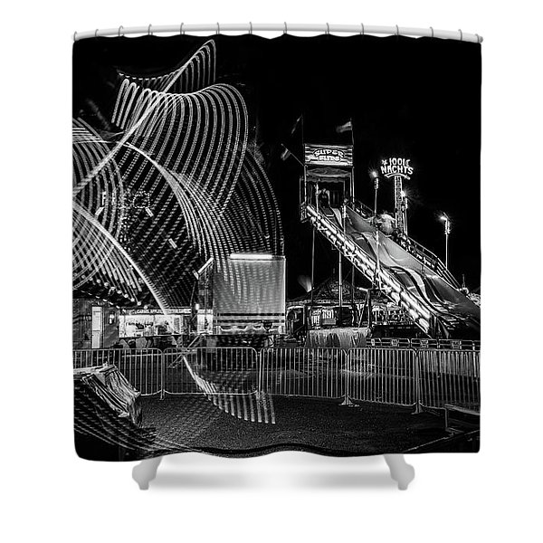 Black And White Fair Rides At Night Shower Curtain