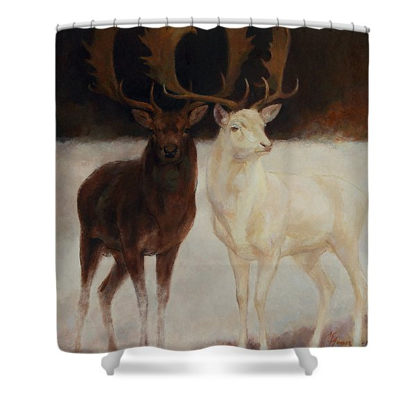 Black And White Fallow Deers Shower Curtain