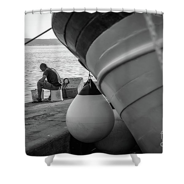 Black And White - Fisherman Cleaning Fish On Docks Of Kastel Gomilica, Split Croatia Shower Curtain
