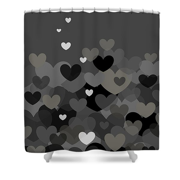 Black And White Heart Abstract Shower Curtain