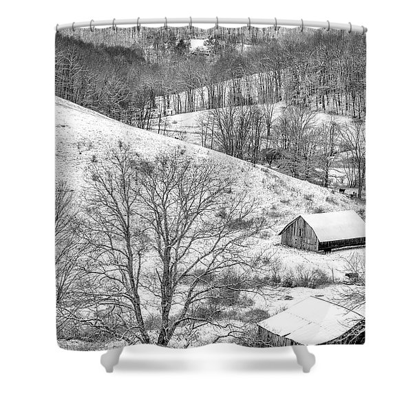 Black And White In Winter Shower Curtain