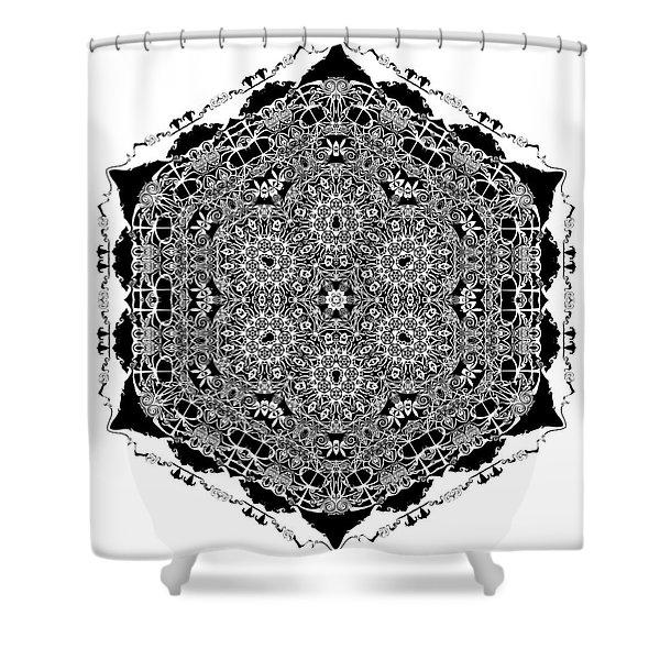 Shower Curtain featuring the digital art Black And White Mandala 15 by Robert Thalmeier