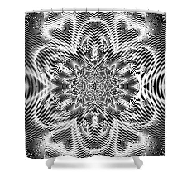 Shower Curtain featuring the digital art Black And White Mandala 9 by Robert Thalmeier