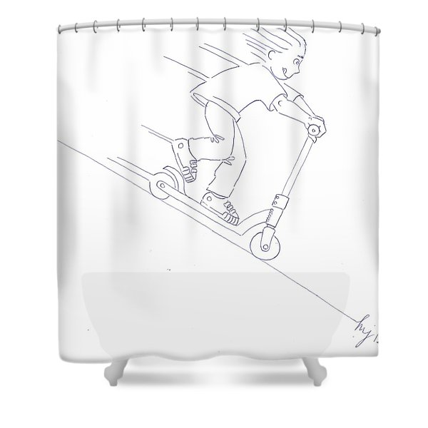 Black And White Micro Scooter Downhill Drawing Shower Curtain