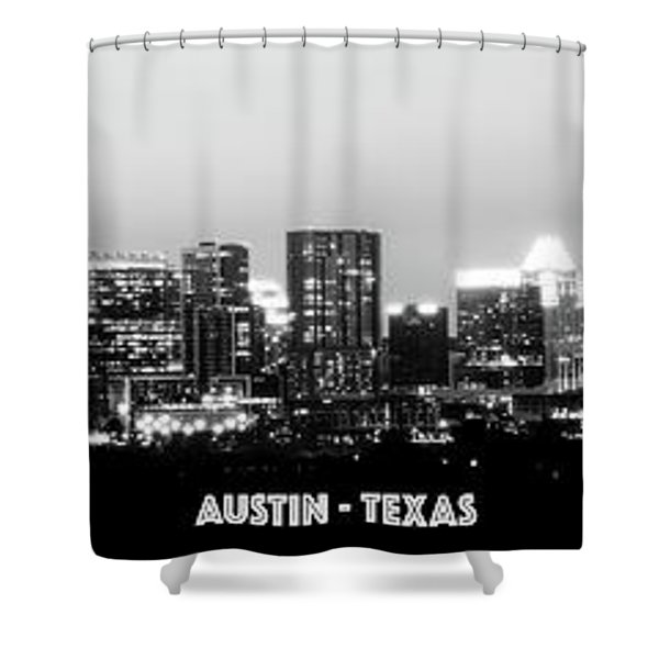 Black And White Panoramic View Of Downtown Austin Shower Curtain