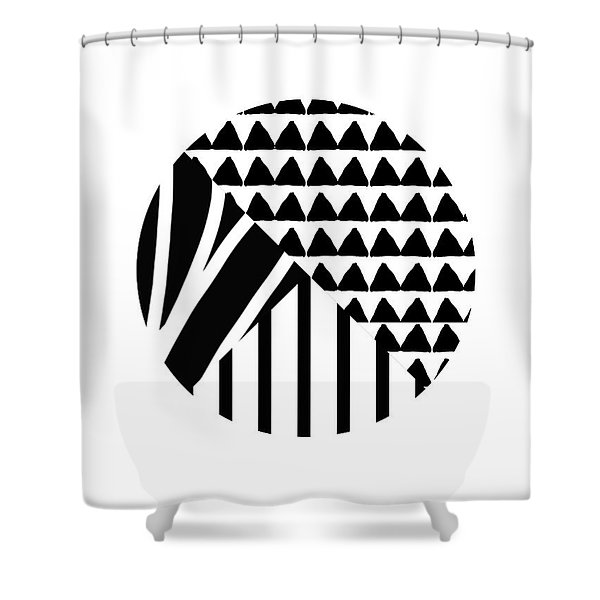 Black And White Patchwork Pattern Ball- Art By Linda Woods Shower Curtain